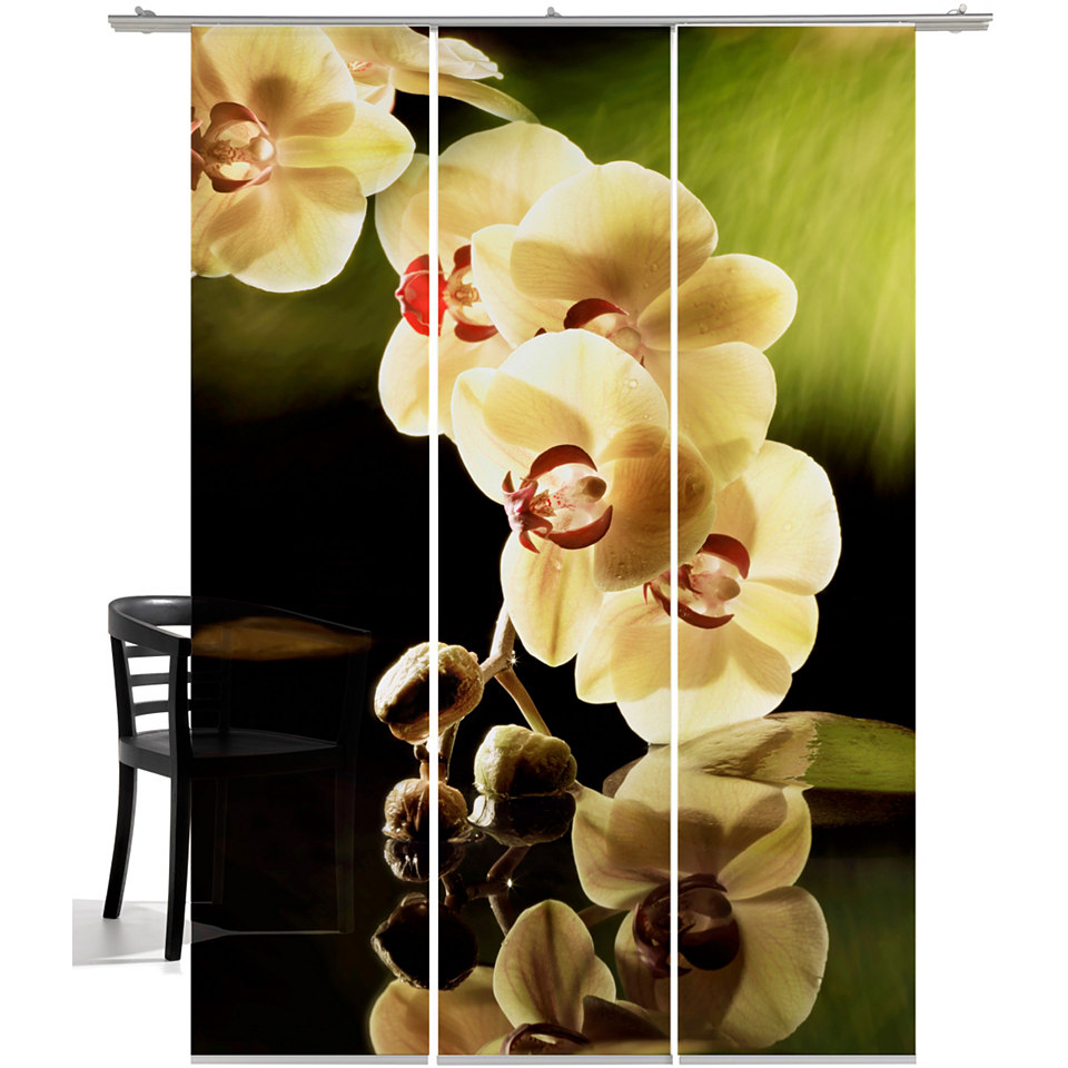 Schiebevorhang, Emotiontextiles, �Orchidee� (3-tlg. incl. Technik)