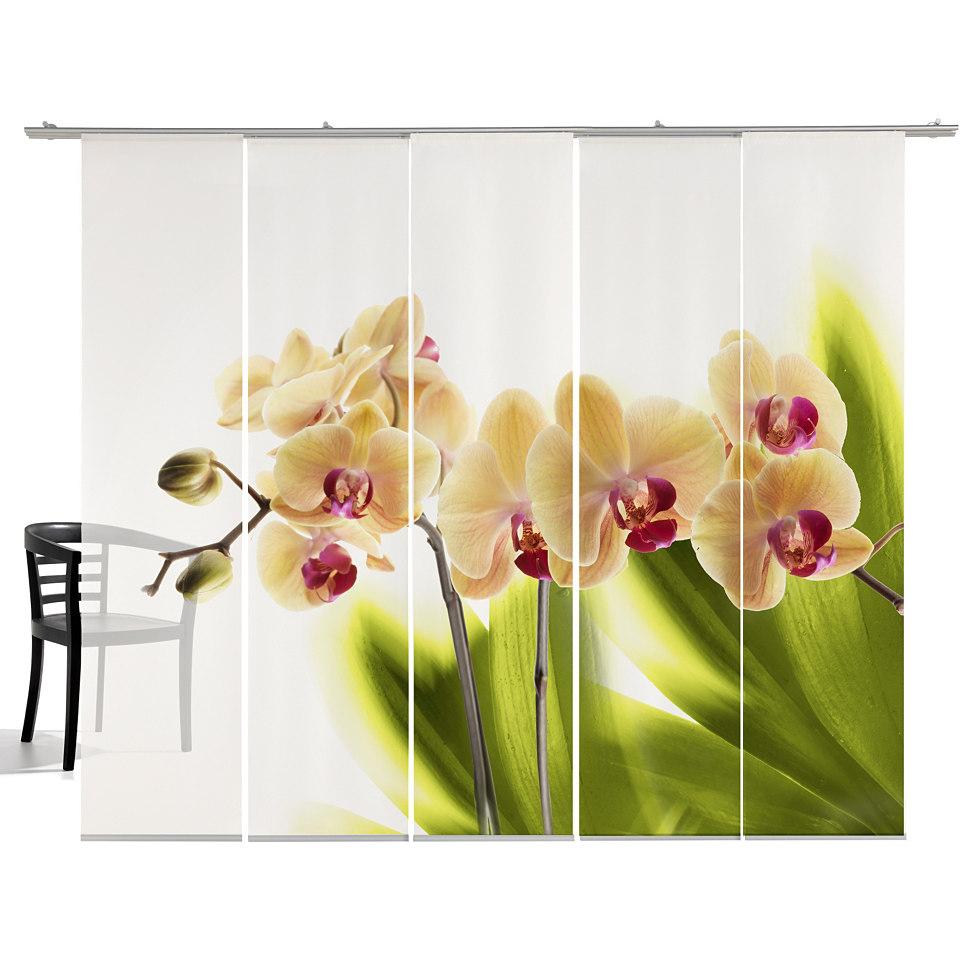 Schiebevorhang, Emotiontextiles, �Orchidee� (5-tlg. incl. Technik)