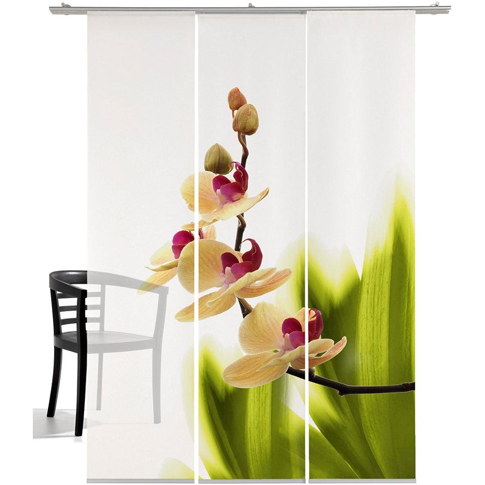 Schiebevorhang, Emotiontextiles, »Orchideenwunder« (3 Stück mit Zubehör)