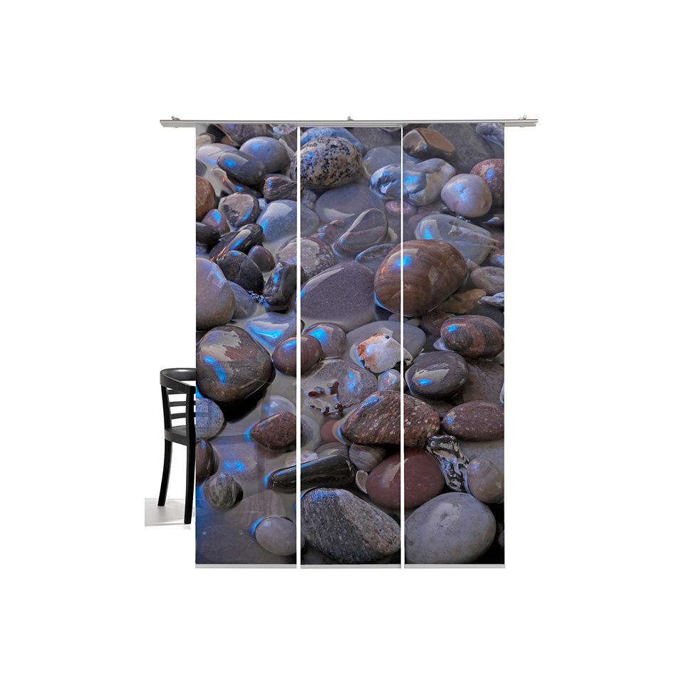 Schiebevorhang, Emotiontextiles, »Steine Mondlicht« (3 Stück mit Zubehör)