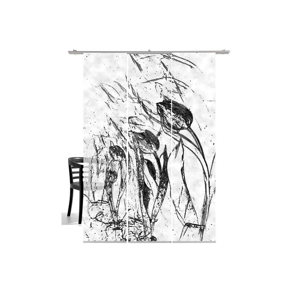 Schiebevorhang, Emotiontextiles, �Tulpen im Wind� (3 St�ck mit Zubeh�r)