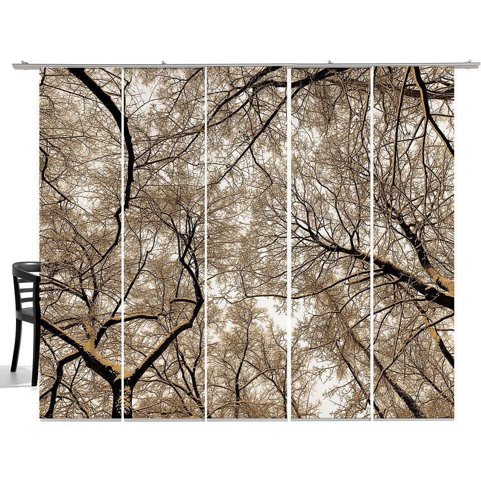 Schiebevorhang, Emotiontextiles, »Wood« (5-tlg. incl. Technik)