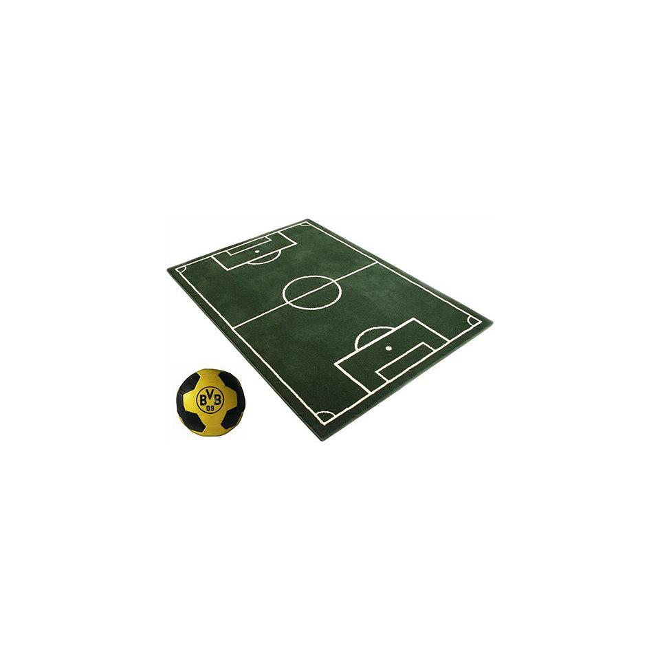Set: Kinder-Teppich, Ecorepublic Home, »Fussballplatz«, Hanse Home + Borussia-Dortmund-Ball