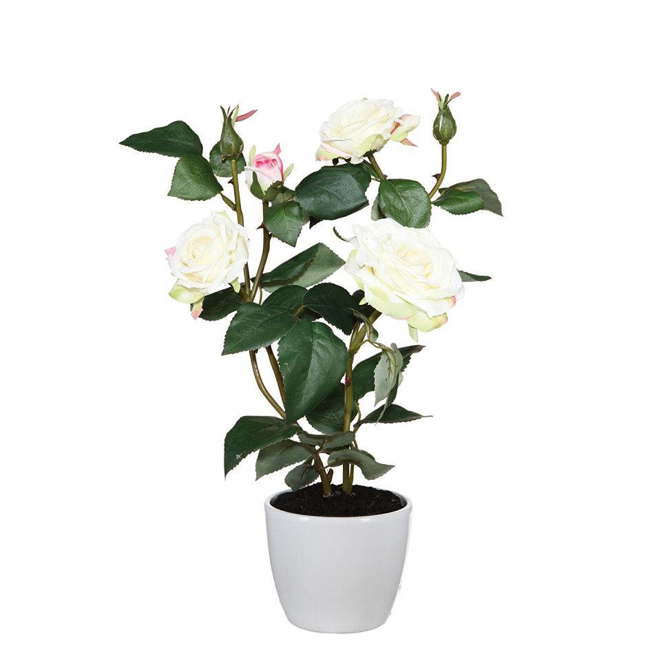 Set: Kunstpflanze Rosenbusch 40cm inkl. Topf