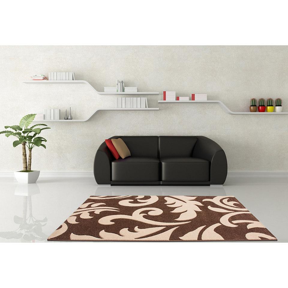Teppich, Lalee, �Havanna 415�, handgearbeiteter Konturenschnitt, gewebt