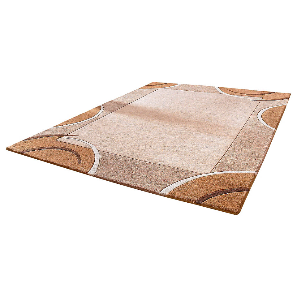 Teppich, Theko, »Bellary«, handgearbeiteter Konturenschnitt, handgetufet, reine Schurwolle