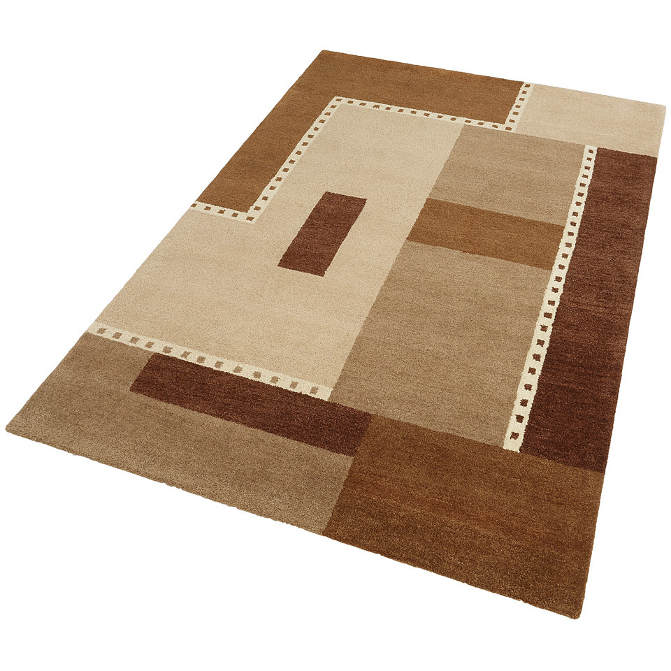 Teppich, Theko, »Jasper«, handgearbeitet, Wolle , 3,8 kg/m²