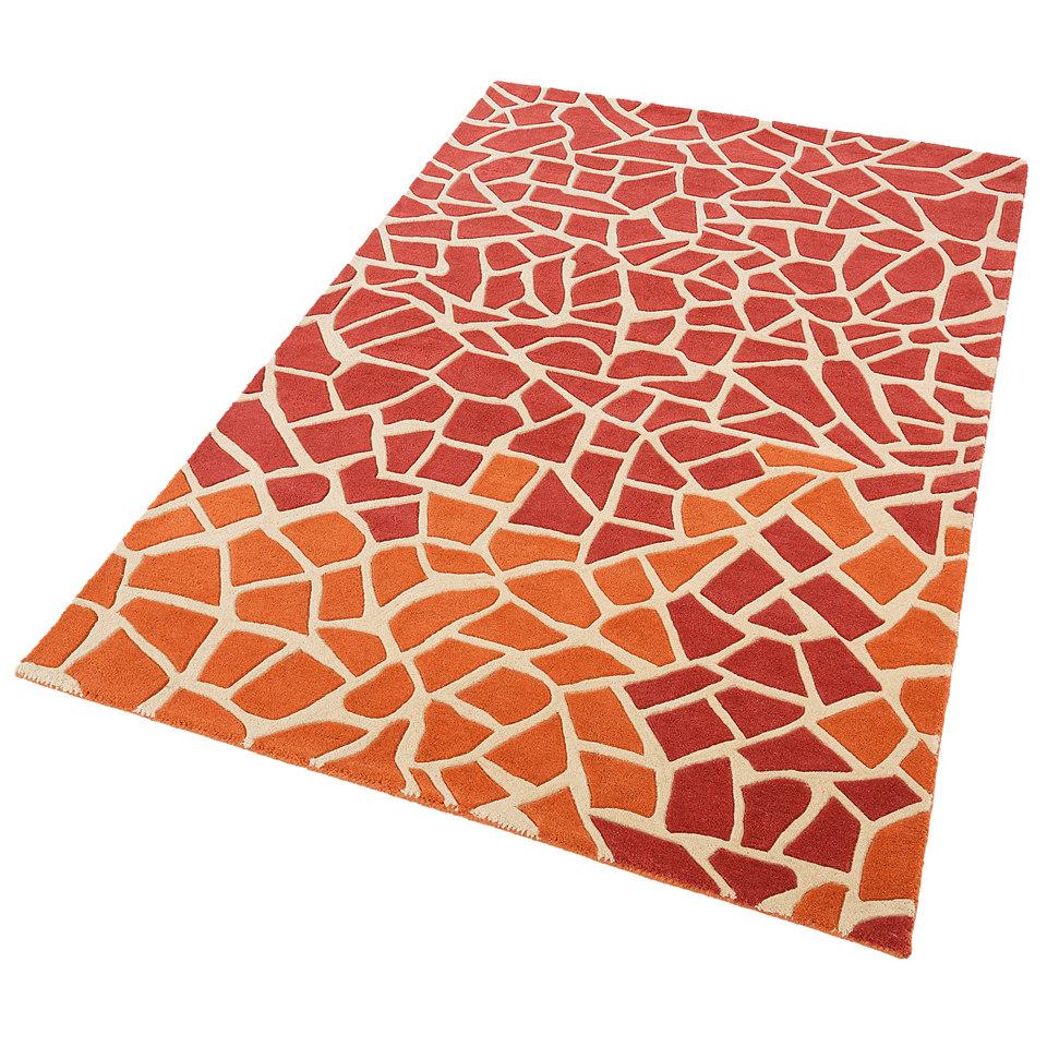 Teppich, Theko, »Lia«, handgearbeiteter Konturenschnitt, handgetuftet, reine Schurwolle