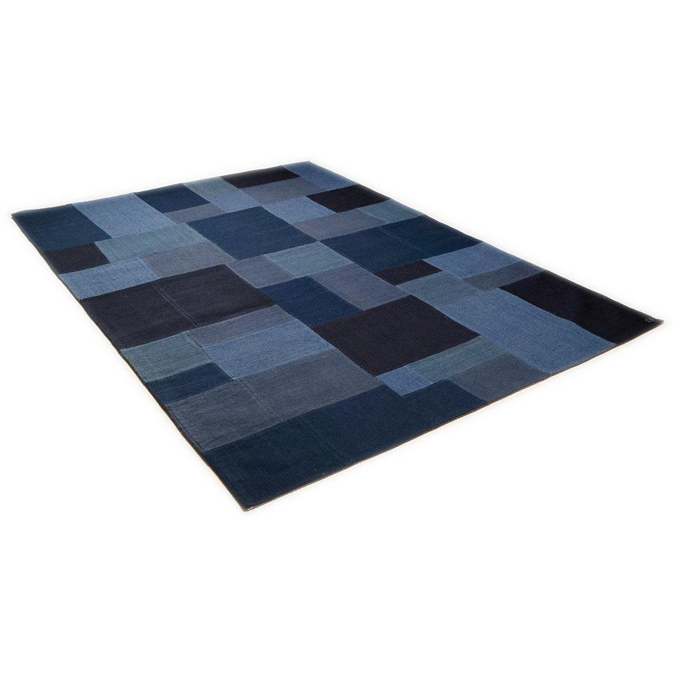Teppich, Tom Tailor, »Patch Denim«, handgewebt, reine Schurwolle