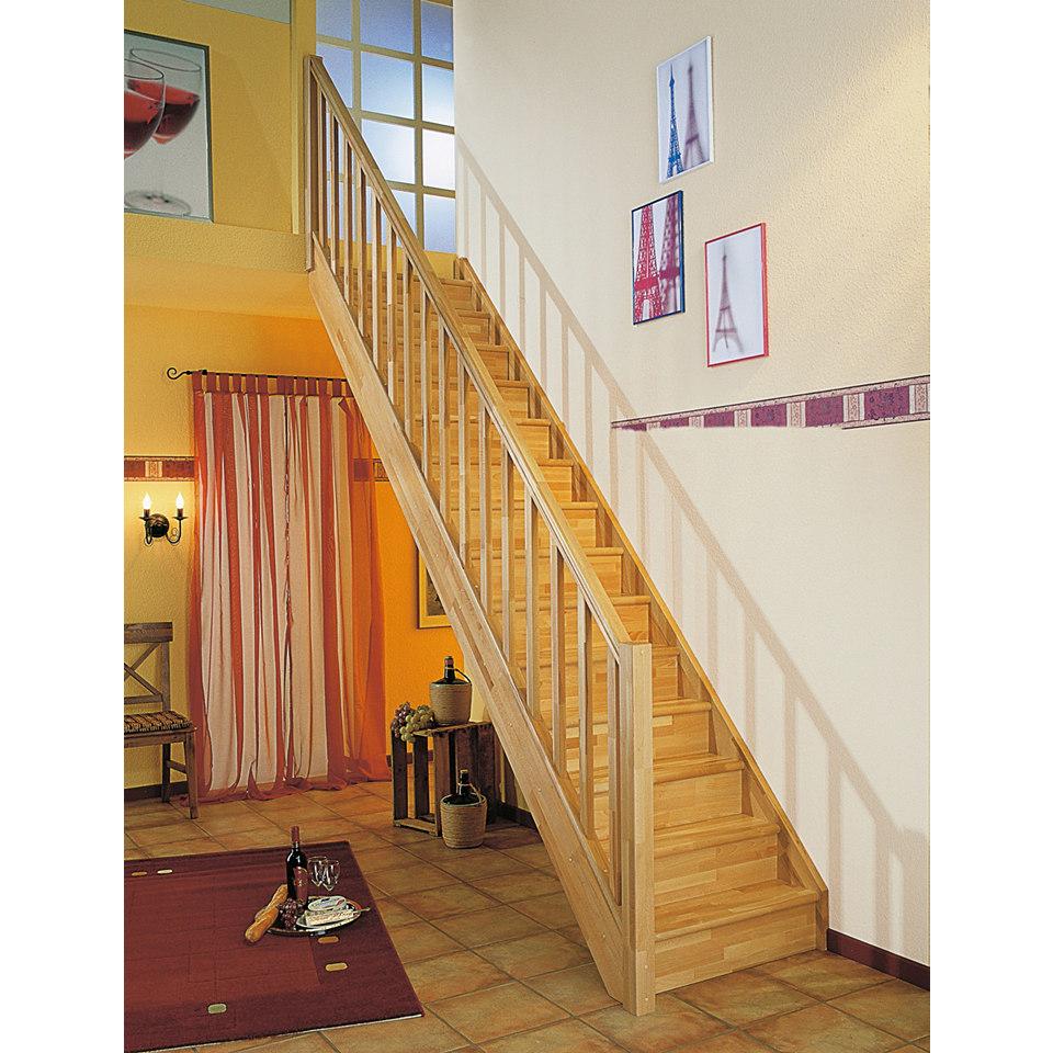 Treppe »Paris«, Buche mit Setzstufen (geschlossen), mit Rechtecksgeländer