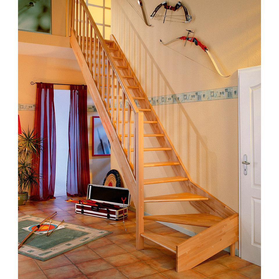 Treppe �Paris�, Buche ohne Setzstufen (offen), mit Rechtecksgel�nder