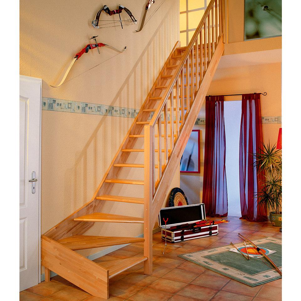 Treppe »Paris«, Buche ohne Setzstufen (offen), mit Rechtecksgeländer