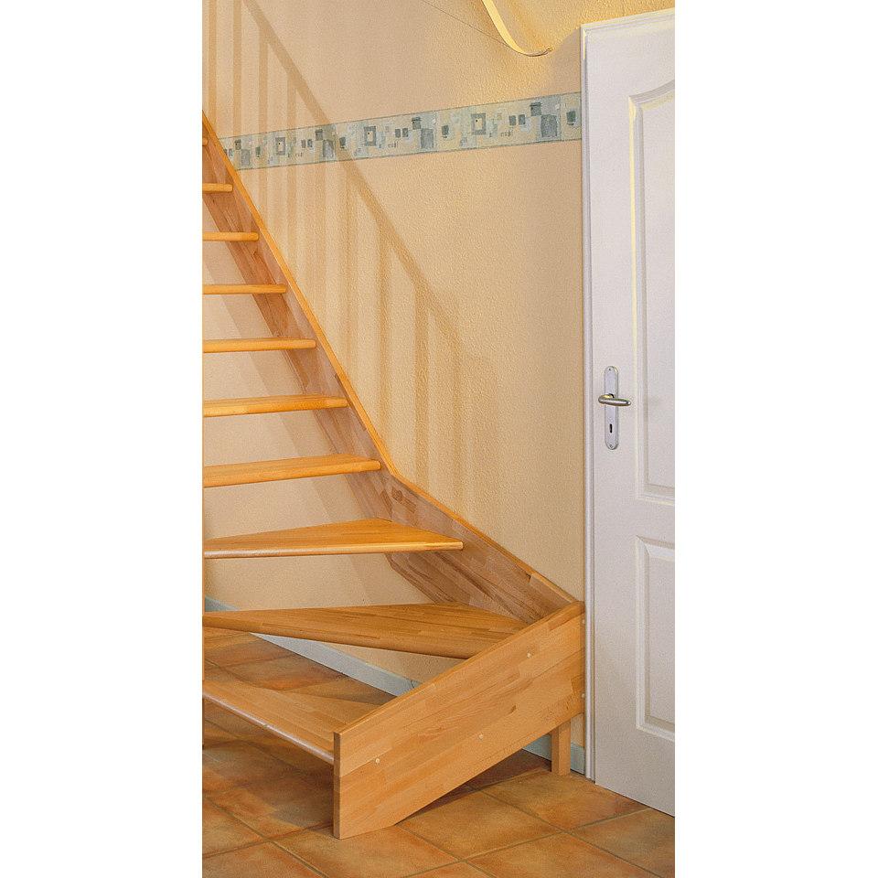 Treppe »Paris«, Buche ohne Setzstufen (offen),mit Drechselgeländer