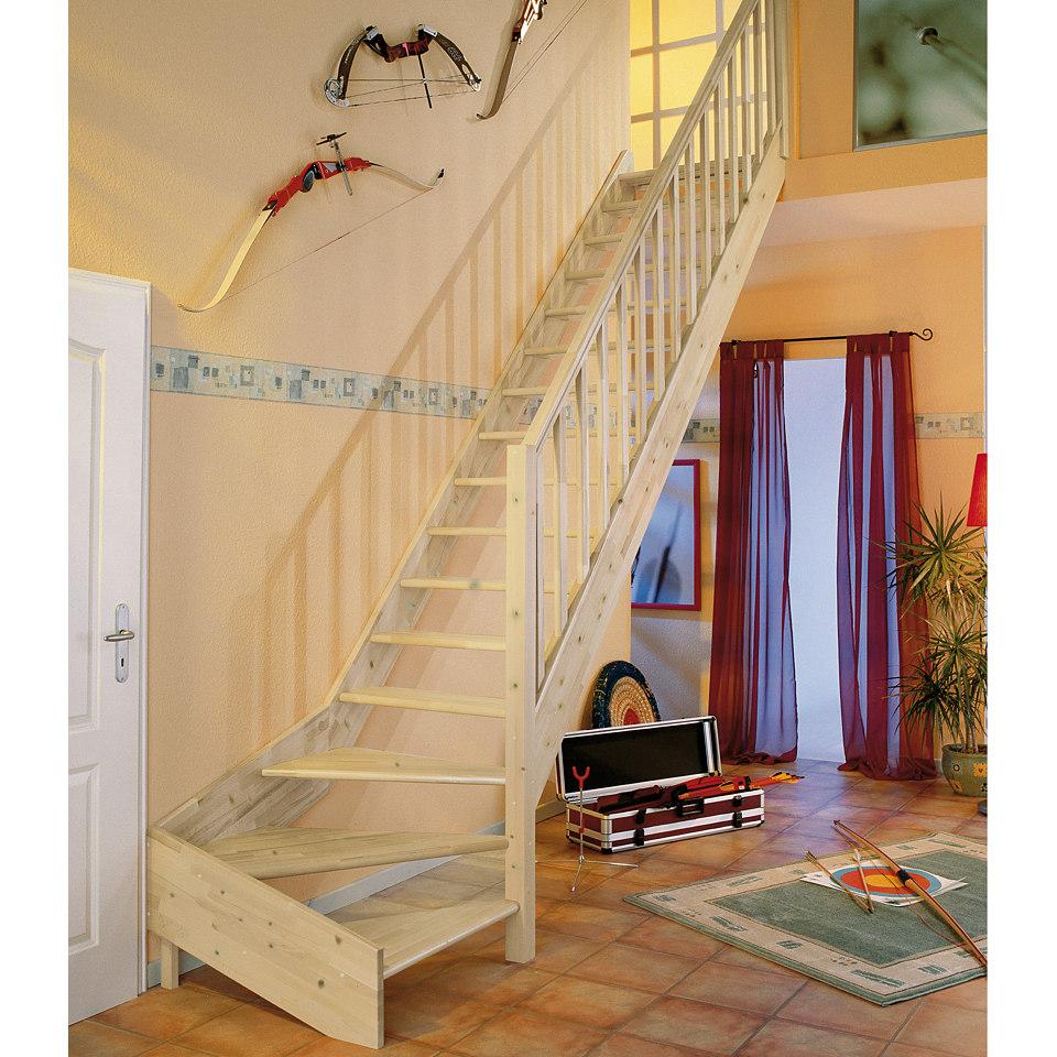 Treppe »Paris«, Fichte ohne Setzstufen (offen), mit Drechselgeländer