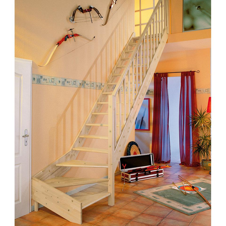 Treppe »Paris«, Fichte ohne Setzstufen (offen), mit Rechtecksgeländer