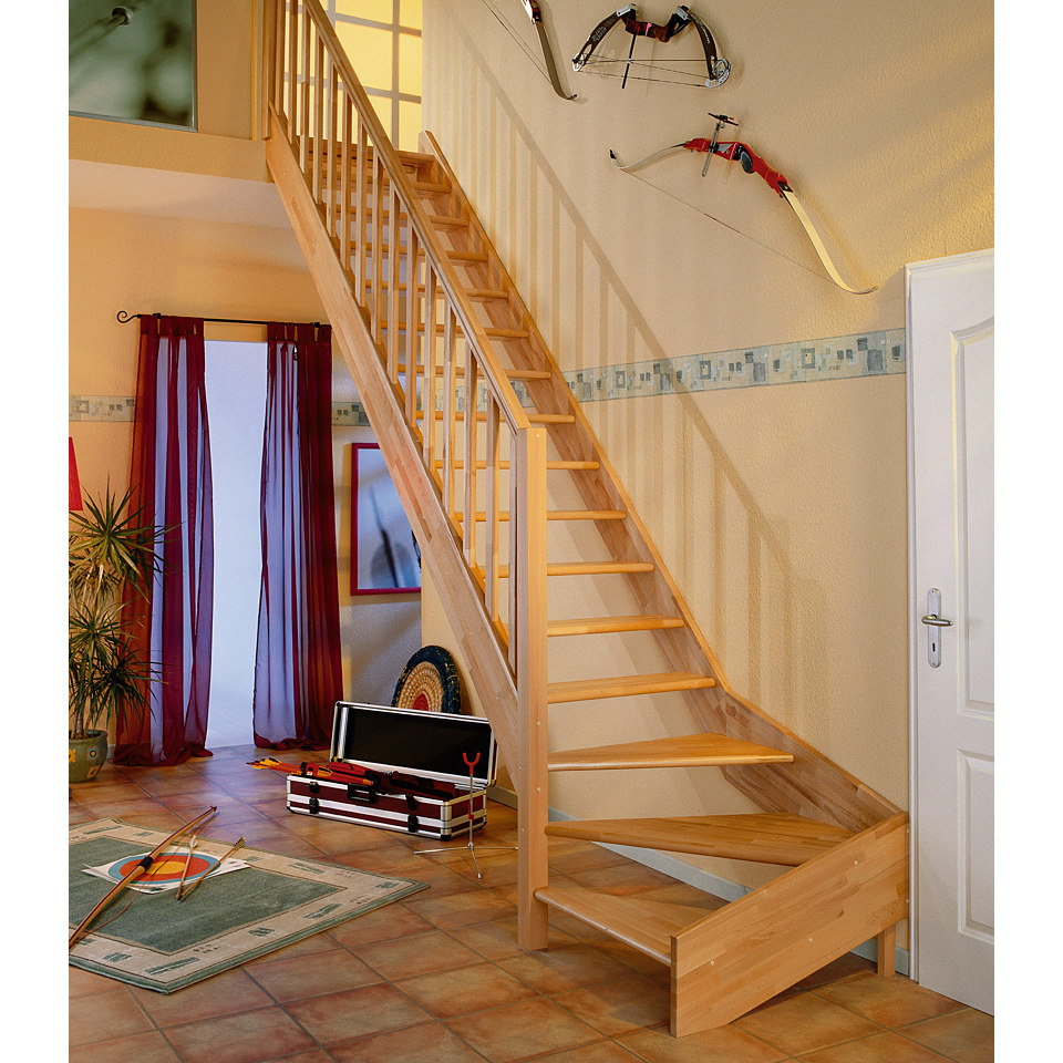 Treppe »Paris« in Buche ohne Setzstufen (offen), mit Designgeländer