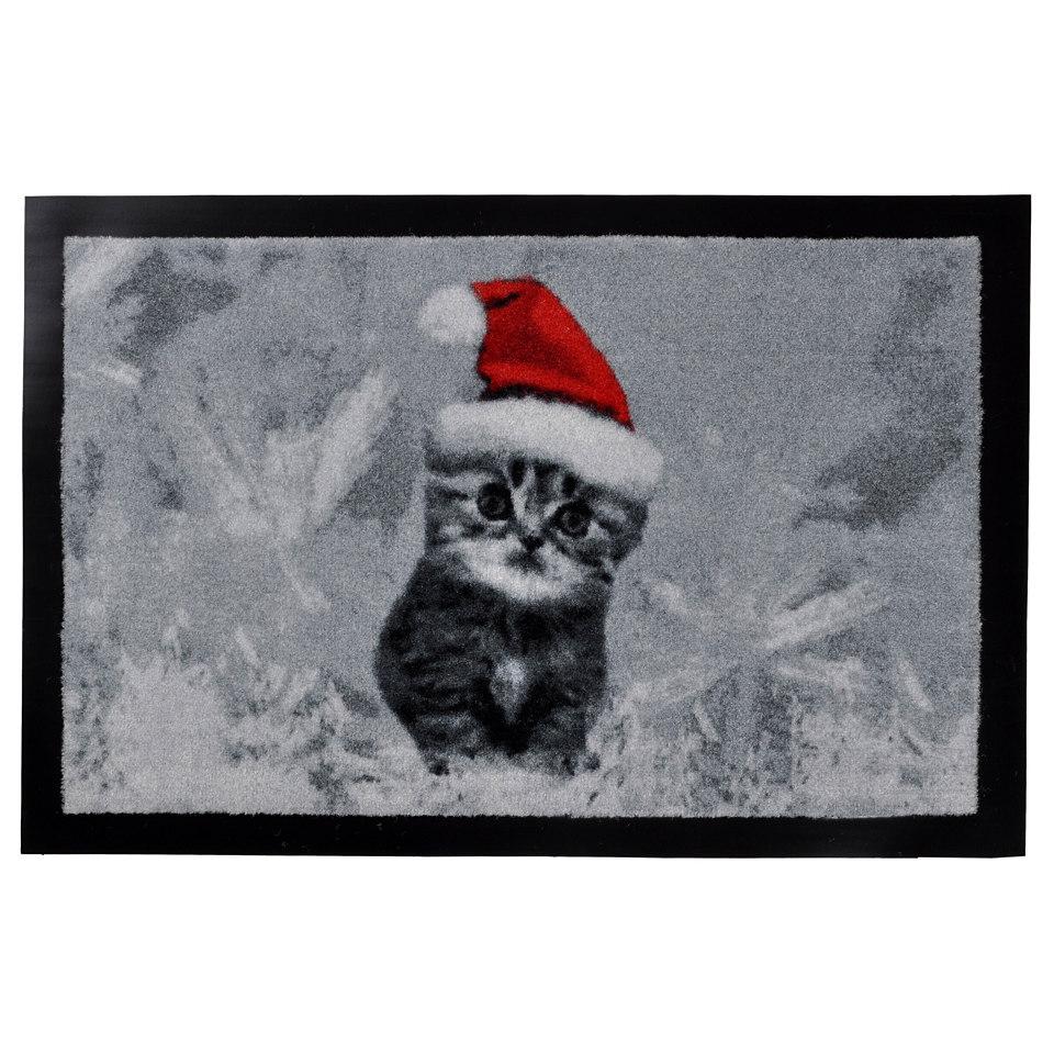 Weihnachts-Fußmatte, Hanse Home, »X-mas cat«, rutschhemmend beschichtet