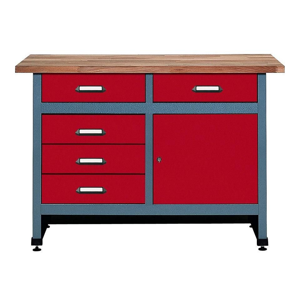 Werkbank »1 Tür, 5 Schubladen, rot, in verschiedenen Höhen«