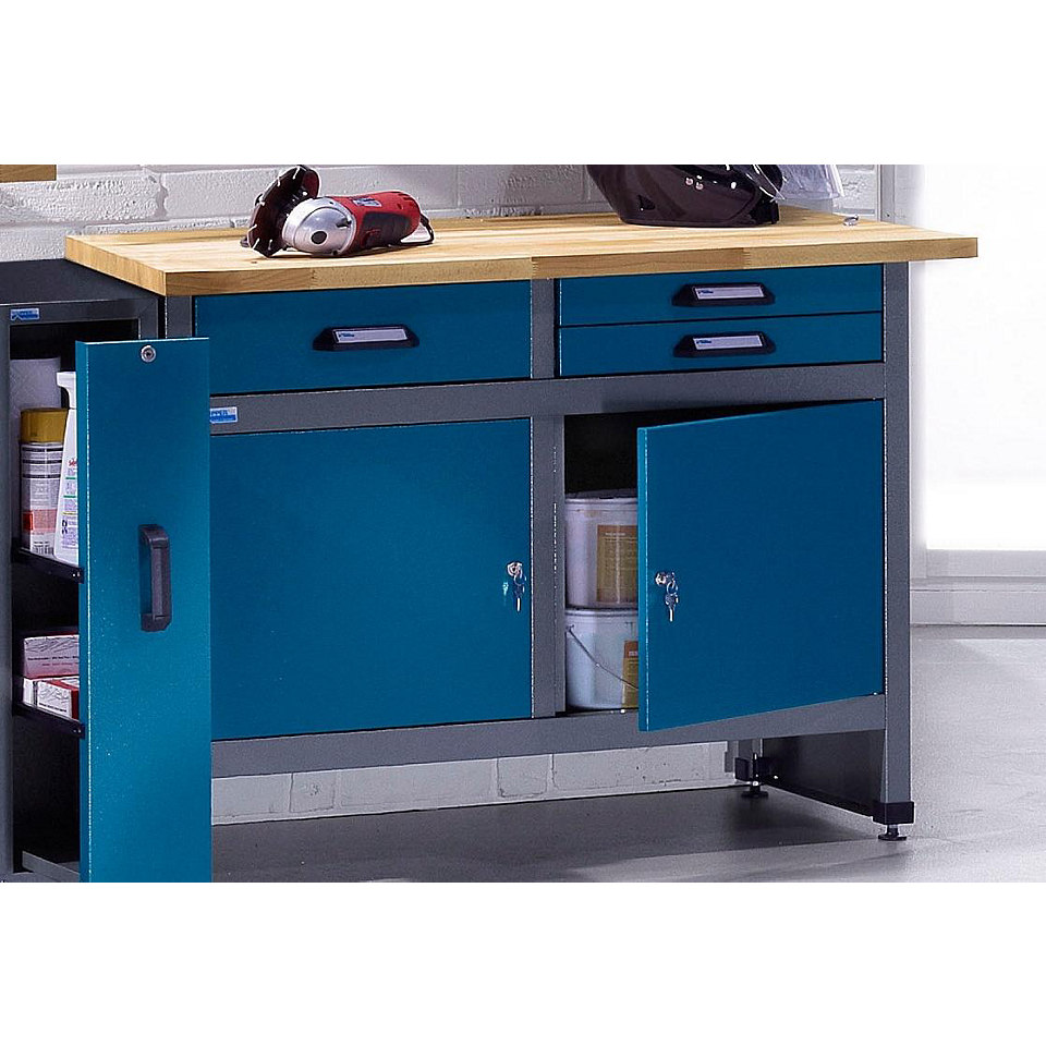 Werkbank »2 Türen, 3 Schubladen, hammerschlagblau, in verschiedenen Höhen«