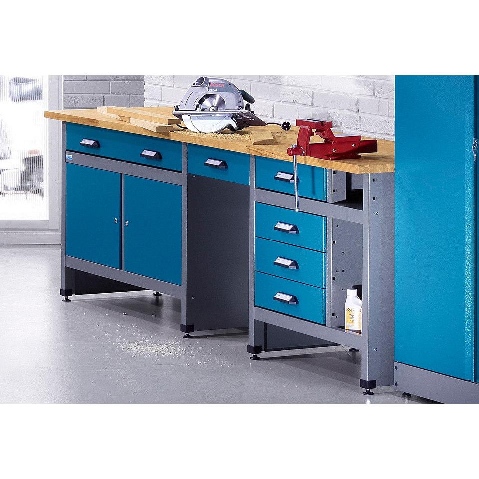 Werkbank »2 Türen, 6 Schubladen, hammerschlagblau, in verschiedenen Höhen«