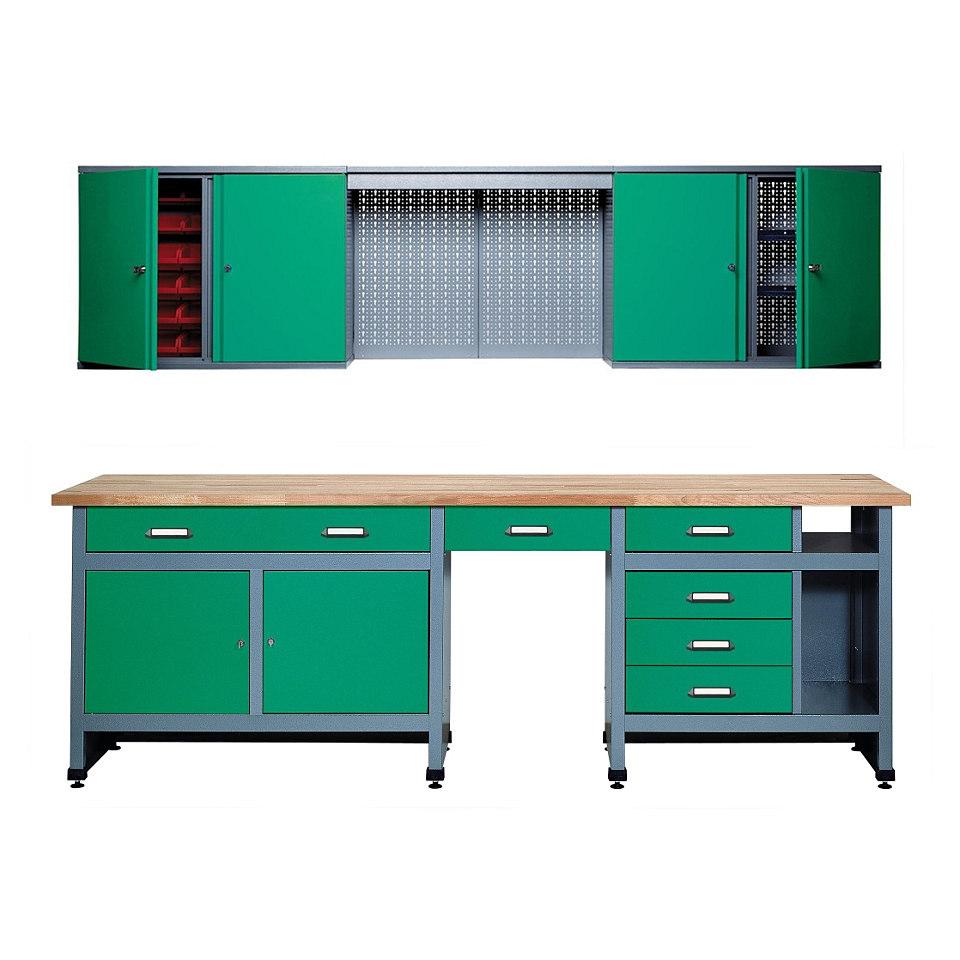 Werkbank »Set 2,40 m, grün, in verschiedenen Höhen«