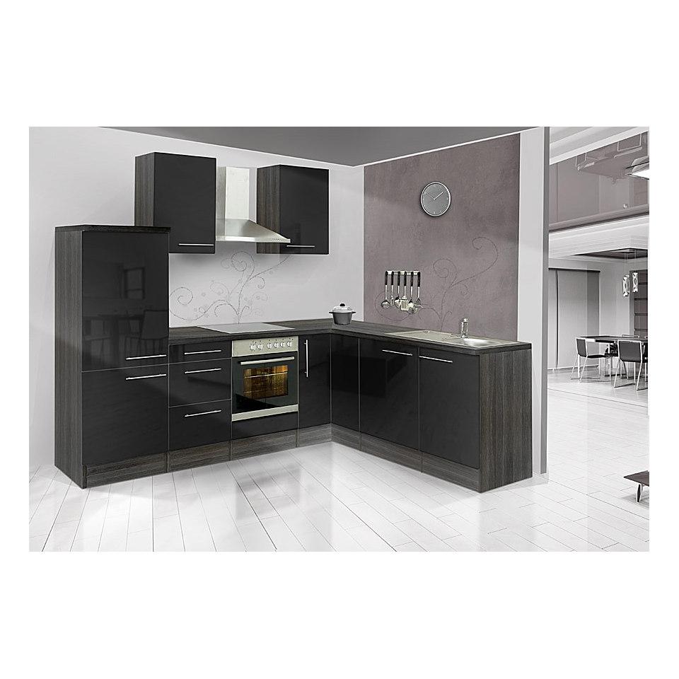 Winkel-Küchenzeile »Mia«, 260 x 200 cm, Korpus Eiche-Grau Dekor, Set 1